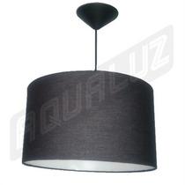 Luminária Pendente Cilindrica Tecido Preto 35cm