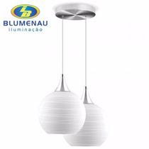 Pendente Luminaria Lustre Duplo Em Vidro C/ Base Em Alumínio