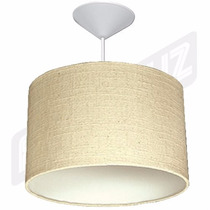 Luminária Pendente Cilindrica Algodão Natural 35cm