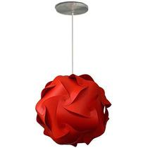 Luminária Lustre Pendente 1 Bola Mexicana 25 Cm Vermelha