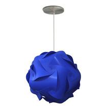 Luminária Lustre Pendente 1 Bola Mexicana 25 Cm Azul