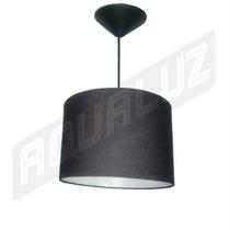 Luminária Pendente Cilindrica Tecido Preto 25cm