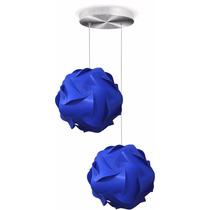 Luminária Dupla Lustre Pendente 2 Bolas Mexicana 25 Cm Azul