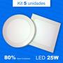 5 Painel Plafon Luminaria Sobrepor Super Led 25w Alto Brilho