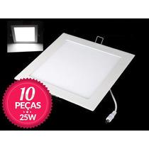 Kit 10 Painel Plafon Led Quadrado Embutir Ultra Slim 25w