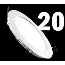 20 Painel Plafon 18w Luminaria Led Slim Redondo Spot Embutir