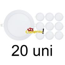 Kit 20 Painel Plafon 18w Luminaria Led Slim Redondo Embutir