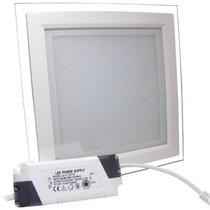 Kit 10 Luminária Plafon Led 18w Quadrado Embutir Vidro Spot
