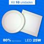 10 Painel Plafon Luminaria Sobrepor Super Led 25w Alto Brilh