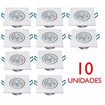 10 Lâmpada Led 3w Bivolt Spot Quadrado Embutir Quente Frio