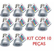 Kit 10 Lampada Rgb Spot E27 Led 3w 16 Cores Bivolt C/ Contro
