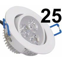 25 Unidades Lampadas Spot Branco Led 3w Fria Teto Sanca
