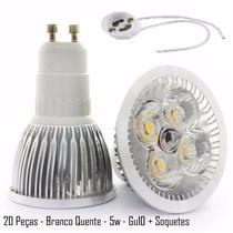 20 Lampadas Led Dicroica Bivolt Branco Quente Spot Gu10 5w