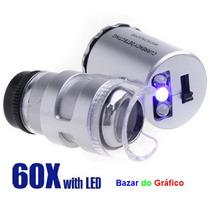 Lupa Conta-fios 60x (mini-microscópio) + Leds + Case