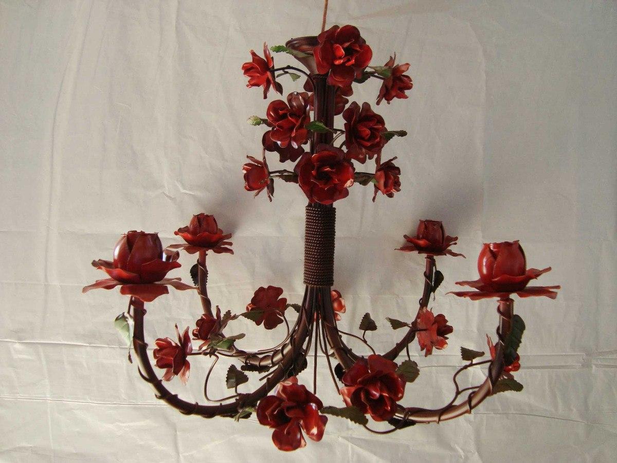 Artesanato Indiano ~ Lustre Flores 4 Braços Artesanato Em Ferro Mg R$ 580,00 no MercadoLivre