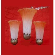 Tulipa Lirio Murano Grande Estilo Tiffany Branco Com Laranja