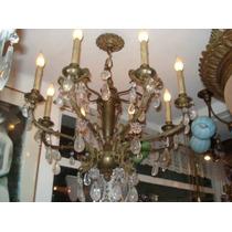 Lustre Em Bronze E Cristal De Rocha (8 Lampadas )