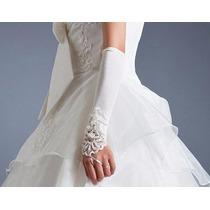 Luva Para Noiva Princesa Fantasia Tecido Elastano E Bordados