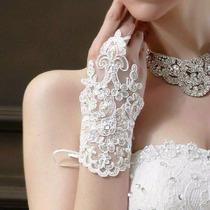 Luva Renda Guippir Branca Strass Noiva Debutante Festa Luxo