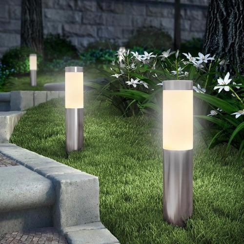 enfeites de jardim solar:Luz De Jardim Led De Aço Inoxidável Com Energia Solar 2 Unid – R$