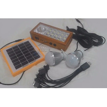 Carregador Painel Solar Celular Luminária Led 2 Lâmpadas Led