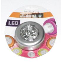 Kit Com 10 Luminária De Toque 3 Leds + Pilhas Armário Closet