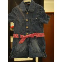 Macacão Jardineira Infantil Menina Tam 1 Ano Jeans Cinto