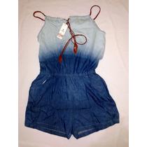 Macaquinho Jeans Feminino Curto Moda Panicat, Super Oferta,