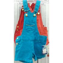 Jardineira Infantil Jeans Feminina Azul Tamanho 6
