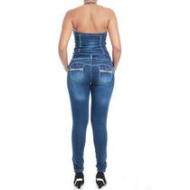 Macacão Sawary Jeans Modela E Levanta Bumbum Pit Bull Lycra