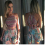 Conjunto Short E Blusa Cropped Nozinho Moda Verão Blogueira!