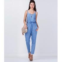 Macacão Feminino Jeans Comprido De Alcinha, Vestido Curto