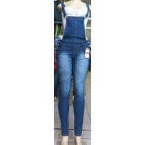 Macacão Jeans Longo Feminino Com Lycra