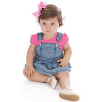 Jardineira Infantil Jeans Estrelas E Camiseta Pink Hello