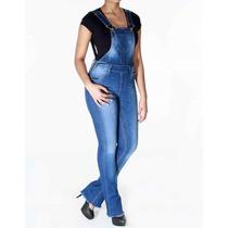 Macacão Jeans Feminino Flare Sawary Frete Gratis Novidade