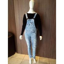 Jardineira Macacão Jeans Feminino Comprido Destroyed