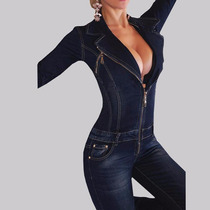 Macacão Feminino Jeans Escuro- Frete Grátis!!!