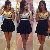 Vestido Feminino Curto Bicolor Tiras C/ Bojo Atacado