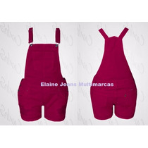 Jardineira Plus Size Tamanho 56 Jeans E Vermelho