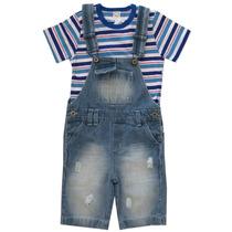 Jardineira Jeans Infantil Masculina Tamanho 4 E 8