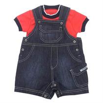Jardineira Jeans P/ Bebê Infantil Menino - Noruega - 4babies