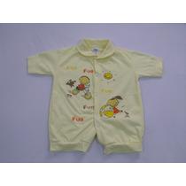 Kit 3 Macacão Curto Em Meia Malha P/bebês 100% Alg. T. Único