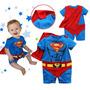 Fantasia Bebê- Body Macacão Super Herói - Superman Menino