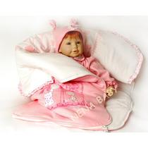 Saída De Maternidade Menina Luxo Macacão Rosa Com Porta Bebê