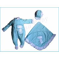 Saída Maternidade Menino Luxo Macacão Azul C/ Manta E Boné