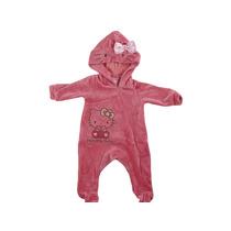 Macacão Bebê Capuz Veludo Hello Kitty Tam.rn-gg Frete Grátis