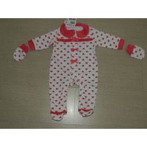 Macacão Bebê Menina Brandili Em Plush Com Luvas. Tam: P Ou G