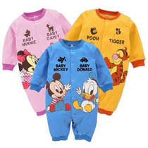 Macacão Disney Mickey Minnie Pooh Manga Longa Pronta Entrega