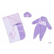 Saída Maternidade Menina Luxo Macacão Plush Lilas Porta Bebê