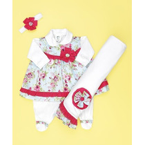 Saída De Maternidade Branco Floral- Bebê Menina-frete Grátis